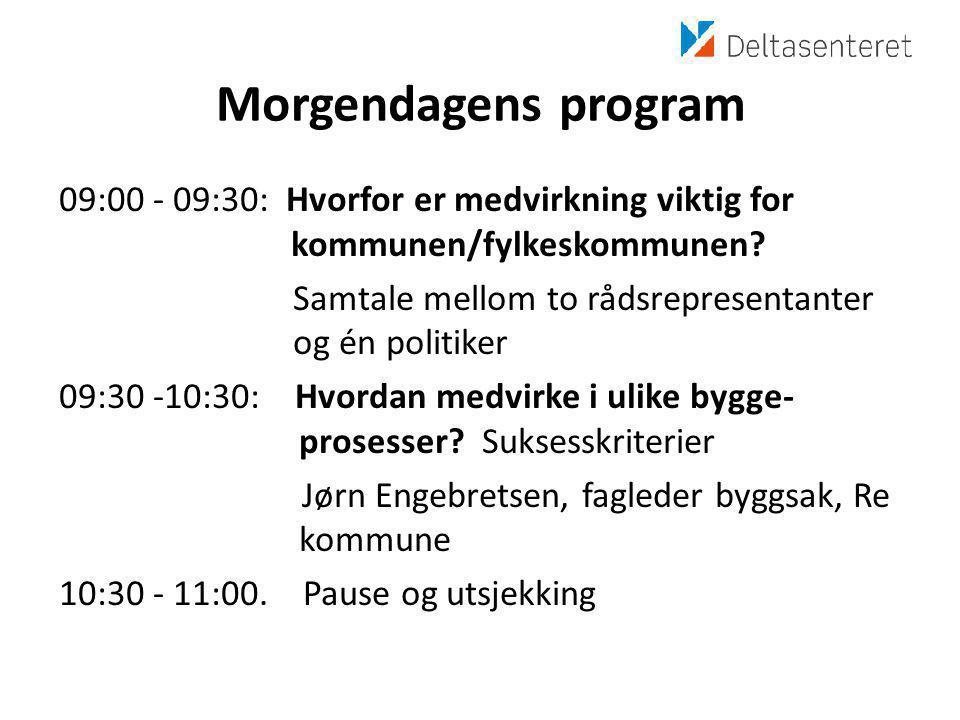 Morgendagens program 09:00 - 09:30: Hvorfor er medvirkning viktig for kommunen/fylkeskommunen.
