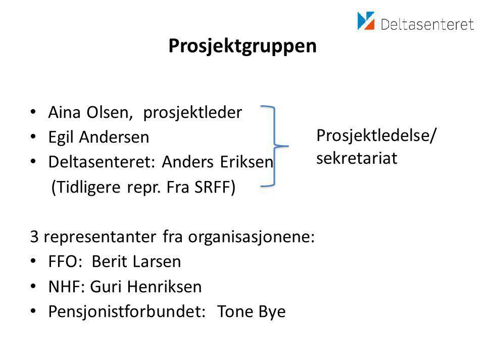 Prosjektgruppen • Aina Olsen, prosjektleder • Egil Andersen • Deltasenteret: Anders Eriksen (Tidligere repr.