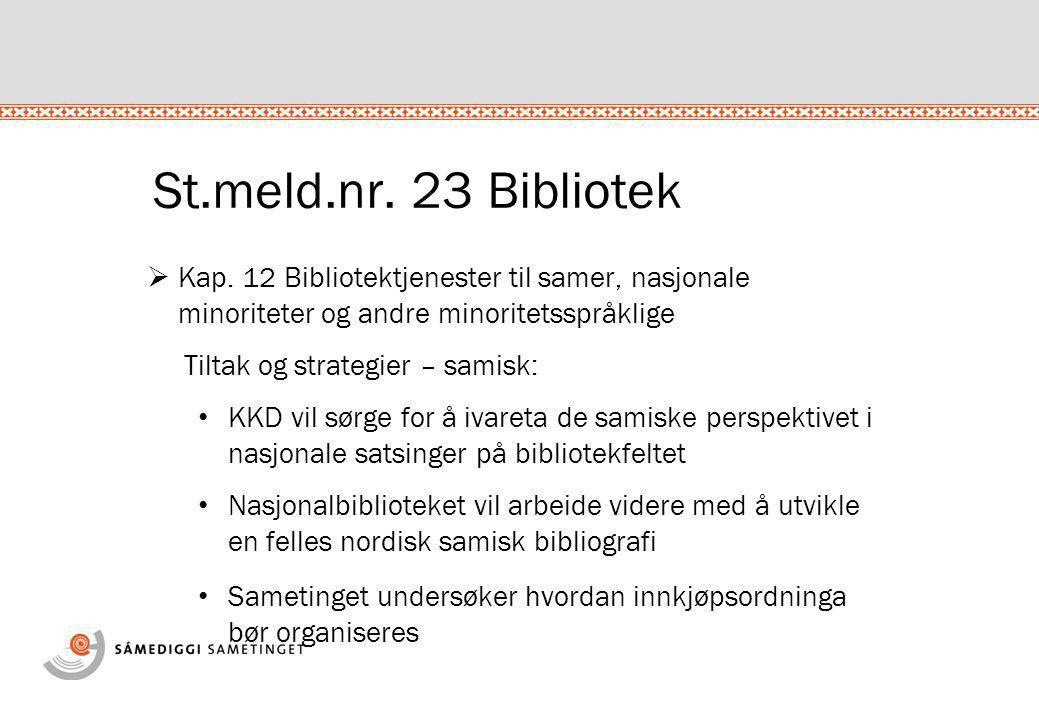 St.meld.nr. 23 Bibliotek  Kap. 12 Bibliotektjenester til samer, nasjonale minoriteter og andre minoritetsspråklige Tiltak og strategier – samisk: • K