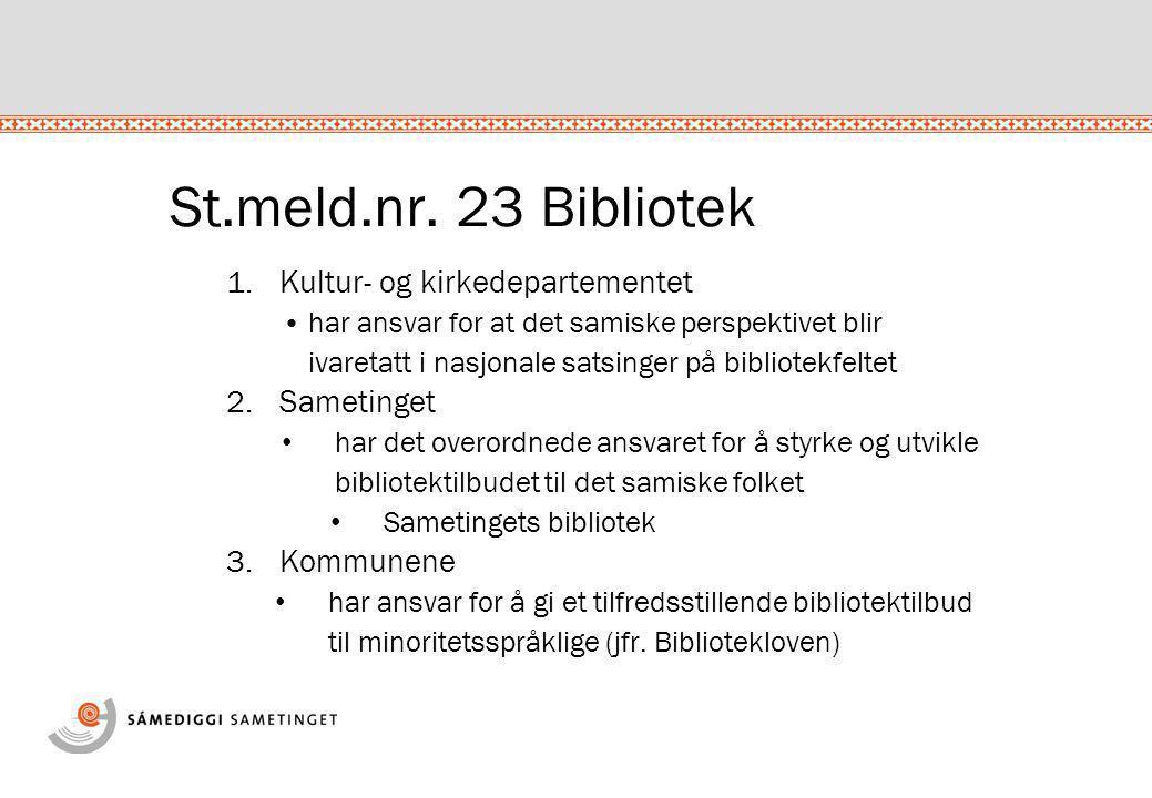 St.meld.nr. 23 Bibliotek 1.Kultur- og kirkedepartementet •har ansvar for at det samiske perspektivet blir ivaretatt i nasjonale satsinger på bibliotek