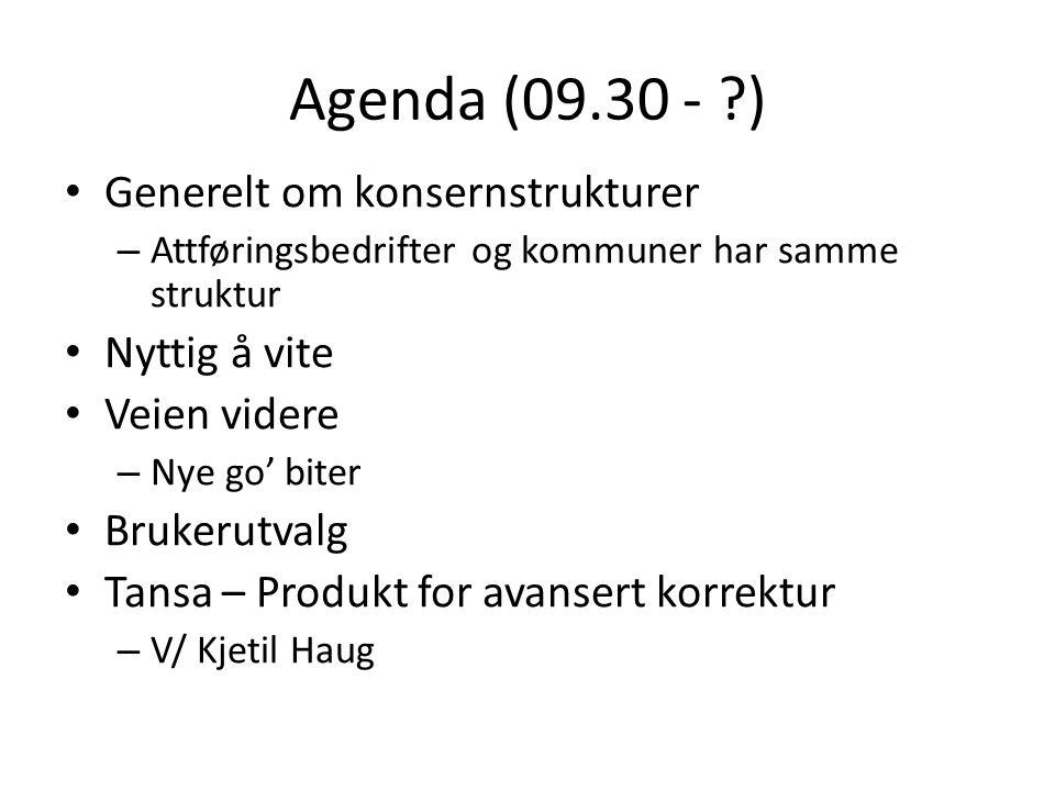 Agenda (09.30 - ?) • Generelt om konsernstrukturer – Attføringsbedrifter og kommuner har samme struktur • Nyttig å vite • Veien videre – Nye go' biter