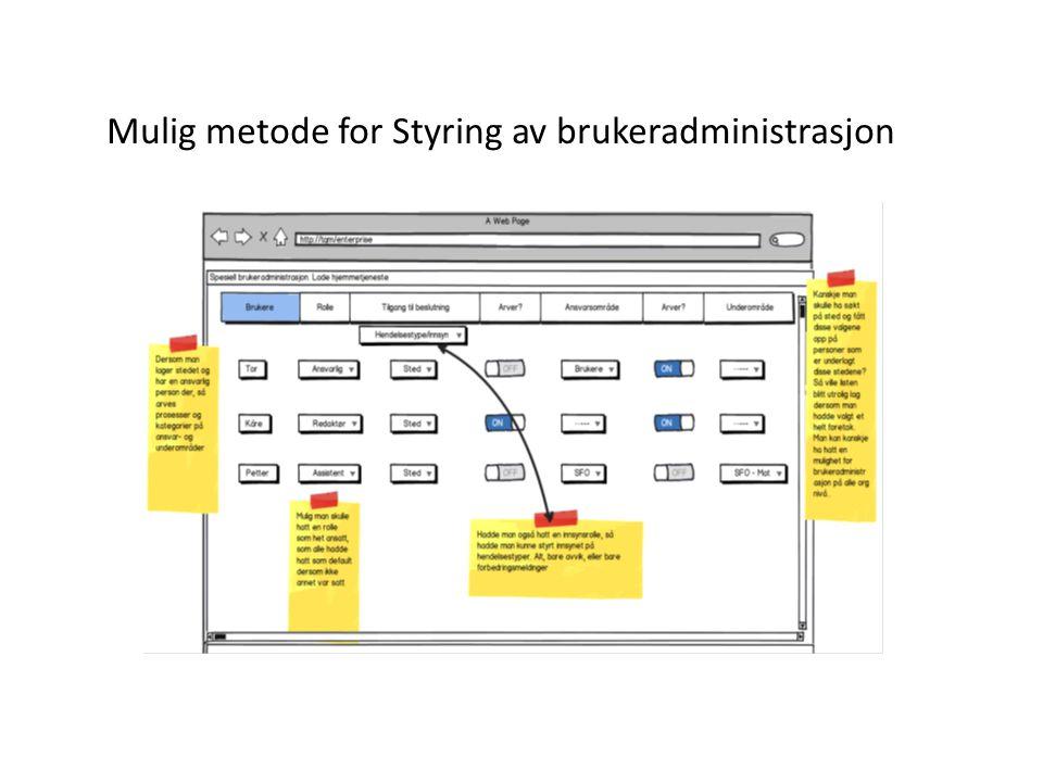 Mulig metode for Styring av brukeradministrasjon