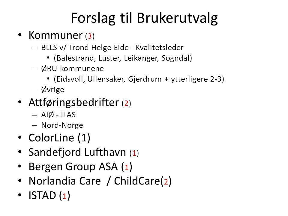 Forslag til Brukerutvalg • Kommuner (3) – BLLS v/ Trond Helge Eide - Kvalitetsleder • (Balestrand, Luster, Leikanger, Sogndal) – ØRU-kommunene • (Eids