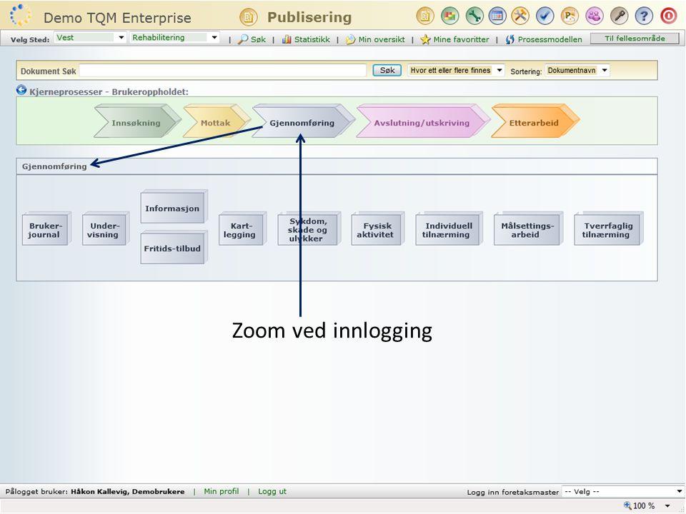 Zoom ved innlogging