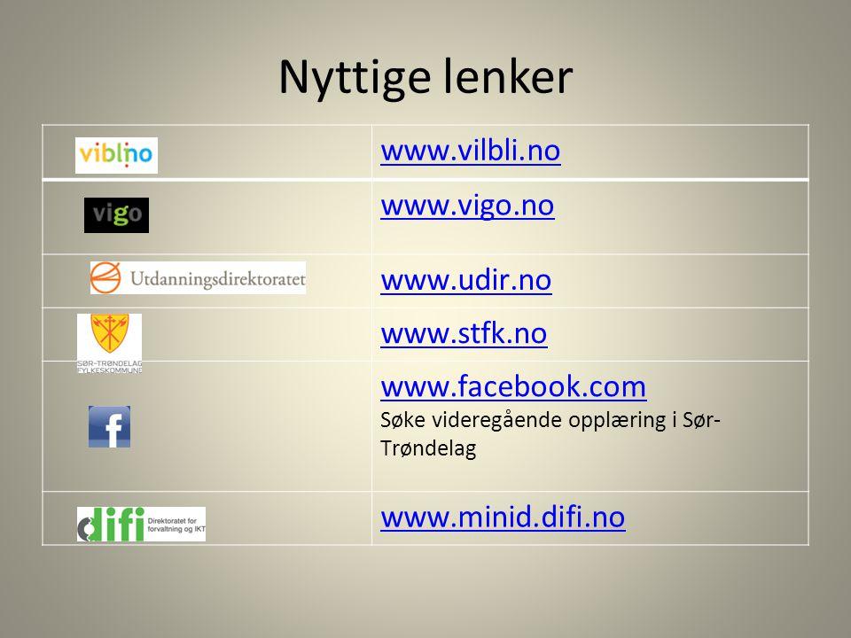 Nyttige lenker www.vilbli.no www.vigo.no www.udir.no www.stfk.no www.facebook.com www.facebook.com Søke videregående opplæring i Sør- Trøndelag www.mi