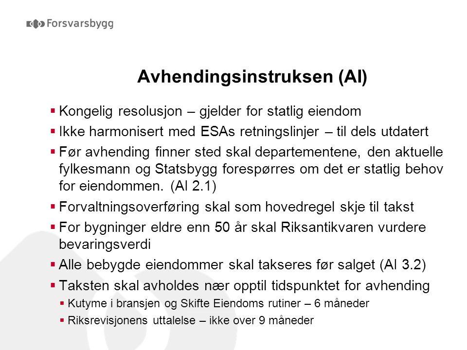 Avhendingsinstruksen (AI)  Kongelig resolusjon – gjelder for statlig eiendom  Ikke harmonisert med ESAs retningslinjer – til dels utdatert  Før avh