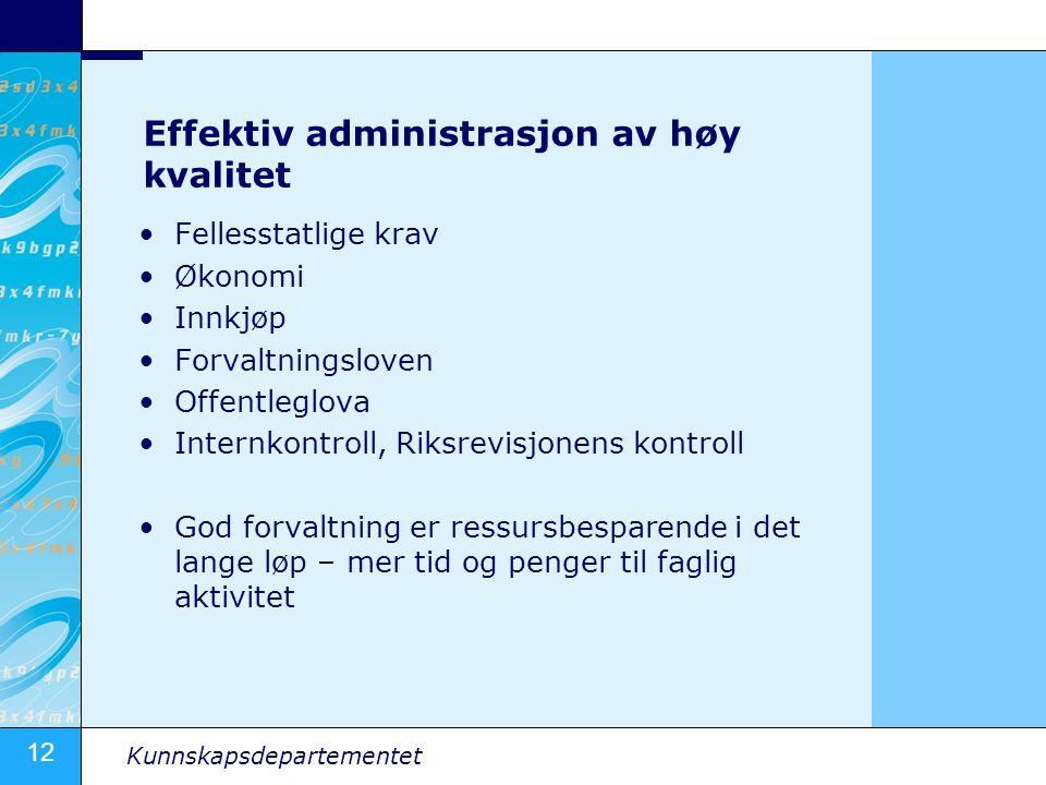 12 Kunnskapsdepartementet Effektiv administrasjon av høy kvalitet •Fellesstatlige krav •Økonomi •Innkjøp •Forvaltningsloven •Offentleglova •Internkont