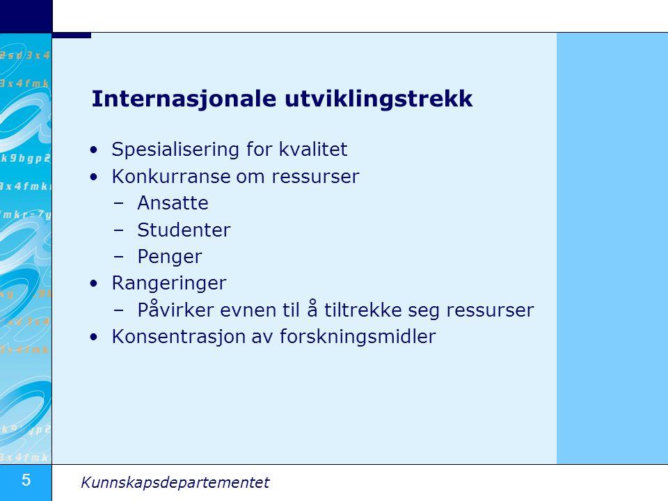 5 Kunnskapsdepartementet Internasjonale utviklingstrekk •Spesialisering for kvalitet •Konkurranse om ressurser –Ansatte –Studenter –Penger •Rangeringe