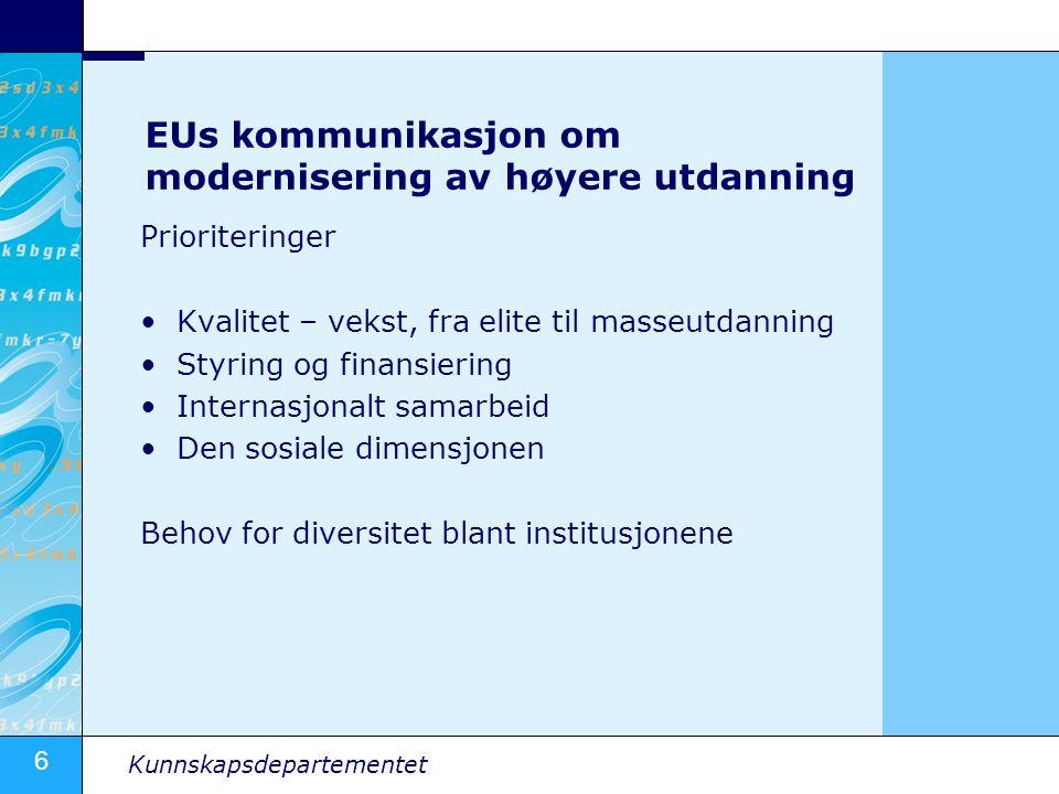 6 Kunnskapsdepartementet EUs kommunikasjon om modernisering av høyere utdanning Prioriteringer •Kvalitet – vekst, fra elite til masseutdanning •Styrin