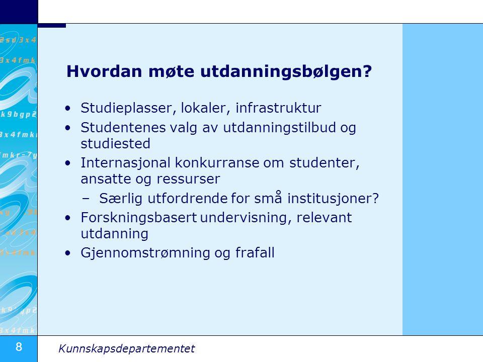 8 Kunnskapsdepartementet Hvordan møte utdanningsbølgen? •Studieplasser, lokaler, infrastruktur •Studentenes valg av utdanningstilbud og studiested •In