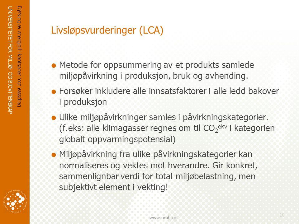UNIVERSITETET FOR MILJØ- OG BIOVITENSKAP www.umb.no Dyrking av energipil i kantsoner mot vassdrag 10 Livsløpsvurderinger (LCA)  Metode for oppsummering av et produkts samlede miljøpåvirkning i produksjon, bruk og avhending.