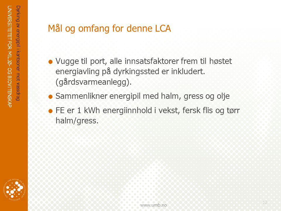 UNIVERSITETET FOR MILJØ- OG BIOVITENSKAP www.umb.no Dyrking av energipil i kantsoner mot vassdrag 12 Mål og omfang for denne LCA  Vugge til port, alle innsatsfaktorer frem til høstet energiavling på dyrkingssted er inkludert.