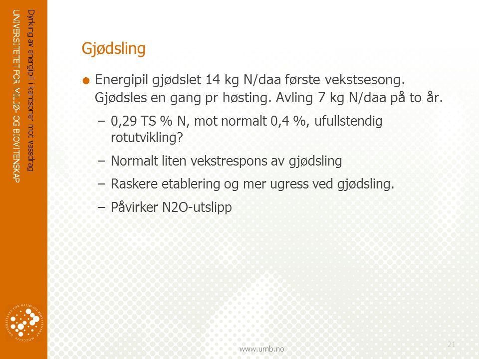 UNIVERSITETET FOR MILJØ- OG BIOVITENSKAP www.umb.no Dyrking av energipil i kantsoner mot vassdrag 21 Gjødsling  Energipil gjødslet 14 kg N/daa første vekstsesong.