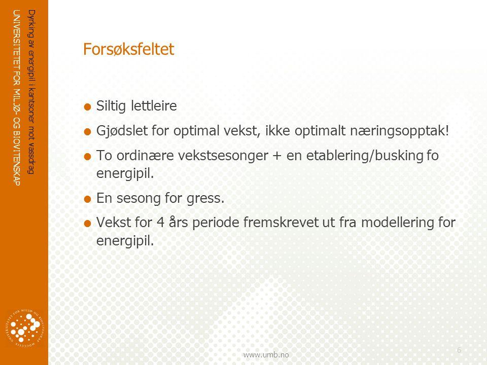 UNIVERSITETET FOR MILJØ- OG BIOVITENSKAP www.umb.no Dyrking av energipil i kantsoner mot vassdrag 6 Forsøksfeltet  Siltig lettleire  Gjødslet for optimal vekst, ikke optimalt næringsopptak.
