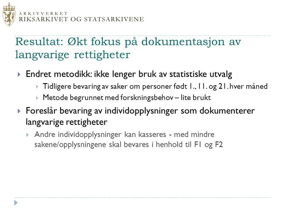 Resultat: Økt fokus på dokumentasjon av langvarige rettigheter  Endret metodikk: ikke lenger bruk av statistiske utvalg  Tidligere bevaring av saker