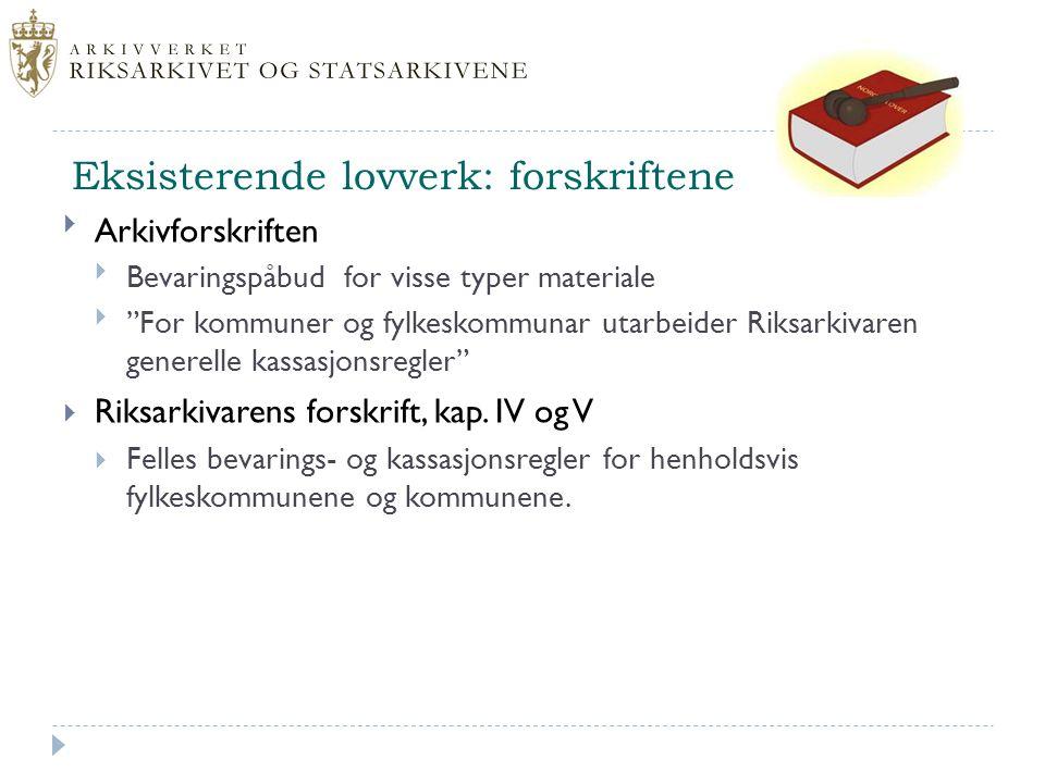 """Eksisterende lovverk: forskriftene Arkivforskriften Bevaringspåbud for visse typer materiale """"For kommuner og fylkeskommunar utarbeider Riksarkivar"""