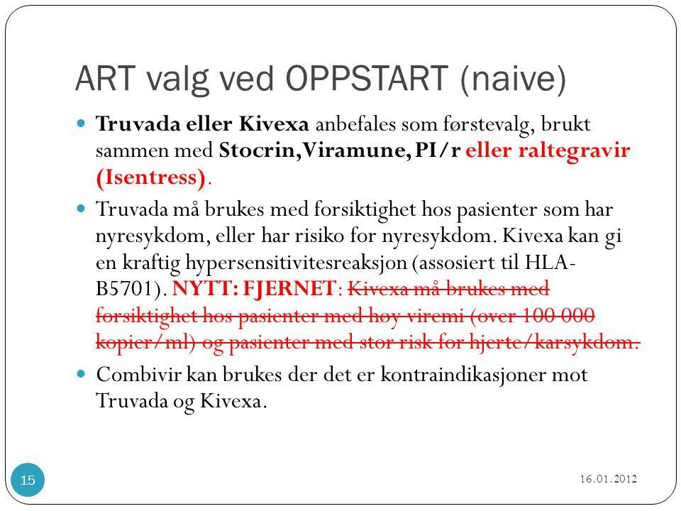 ART valg ved OPPSTART (naive)  Truvada eller Kivexa anbefales som førstevalg, brukt sammen med Stocrin,Viramune, PI/r eller raltegravir (Isentress).
