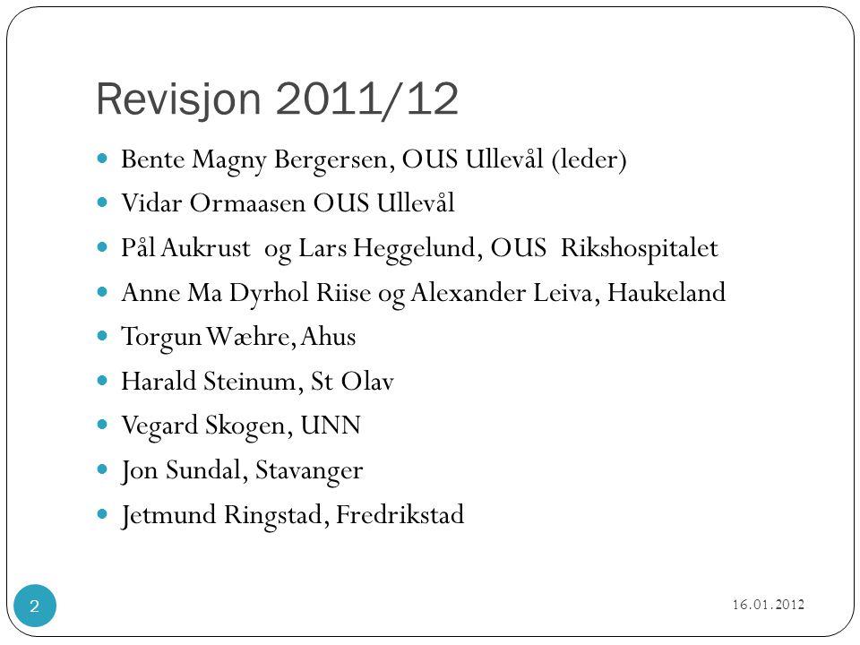 Revisjon 2011/12  Bente Magny Bergersen, OUS Ullevål (leder)  Vidar Ormaasen OUS Ullevål  Pål Aukrust og Lars Heggelund, OUS Rikshospitalet  Anne