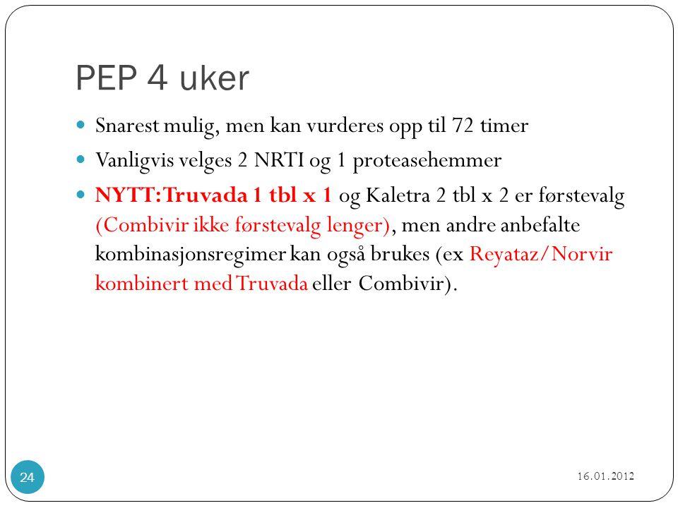 PEP 4 uker  Snarest mulig, men kan vurderes opp til 72 timer  Vanligvis velges 2 NRTI og 1 proteasehemmer  NYTT: Truvada 1 tbl x 1 og Kaletra 2 tbl