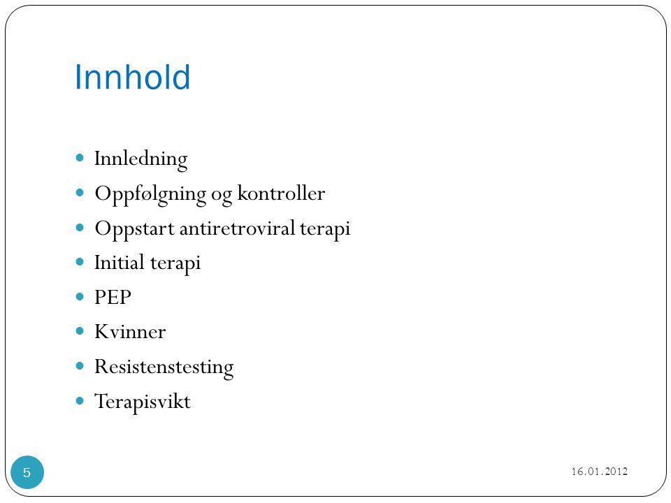 Oppfølgning og kontroller 1.gangs undersøkelser  Konfirmasjonstest og resistens (kopi hvis allerede er utført)  CD4 og HIVRNA  Hb, leukocytter med diff, trombocytter, bilirubin, fjernet ASAT, ALAT, ALP, Ca, kreatinin, GFR  glukose, total kolesterol, LDL, HDL og triglyserider  Serologi: toxo, CMV, hep A/B/C og syfilis (evt VZV/HSV/EBV)  Mantoux, eventuelt med Quantiferontest, hos innvandrere fra land med mye tuberkulose  Urinstix: røde, hvite, glukose, albumin/kreatinin ratio  (Røntgen thorax, EKG)  HLAB5701 screening før abacavir – se kapittel om oppstart ART  (Vitamin D)  Sjekk av seksuelt overførbare infeksjoner: gonore, klamydia (+ syfilis - se over)  Kvinner: cervixutstryk og behov for prevensjon (fastlege/ gyn) 16.01.2012 6