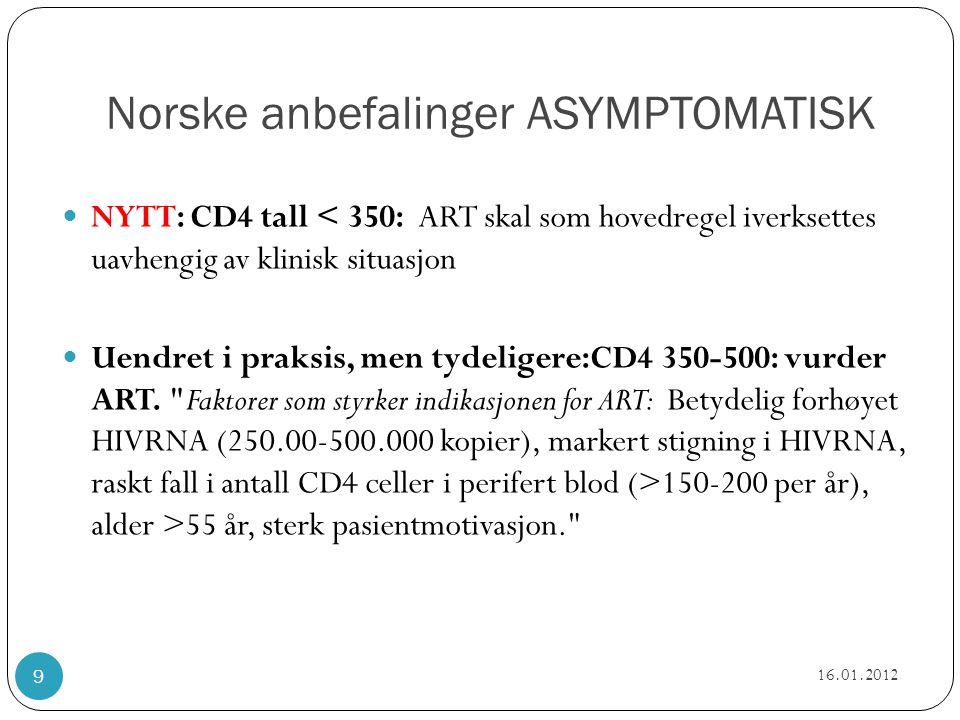 Norske anbefalinger SYMPTOMATISK  Uendret: ved symptomatisk hivinfeksjon i hht CDC B og C skal man starte ART uavhengig av CD4 nivå  NYTT: egen tabell med eksempler på når man skal vurdere/ iverksette  NYTT: egen tabell med CDC B og C 16.01.2012 10