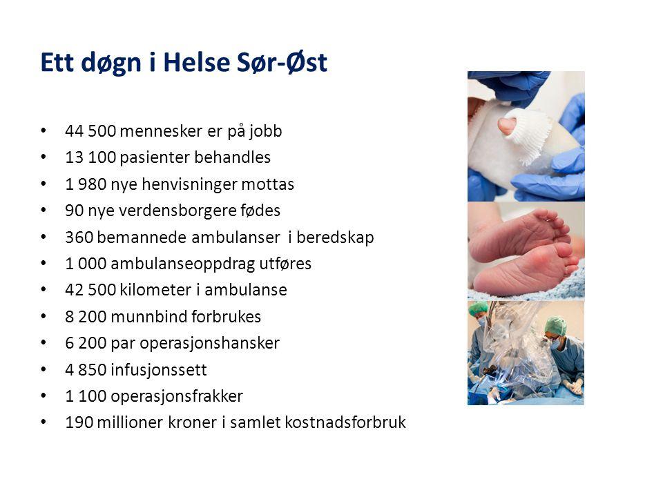 Ett døgn i Helse Sør-Øst • 44 500 mennesker er på jobb • 13 100 pasienter behandles • 1 980 nye henvisninger mottas • 90 nye verdensborgere fødes • 360 bemannede ambulanser i beredskap • 1 000 ambulanseoppdrag utføres • 42 500 kilometer i ambulanse • 8 200 munnbind forbrukes • 6 200 par operasjonshansker • 4 850 infusjonssett • 1 100 operasjonsfrakker • 190 millioner kroner i samlet kostnadsforbruk