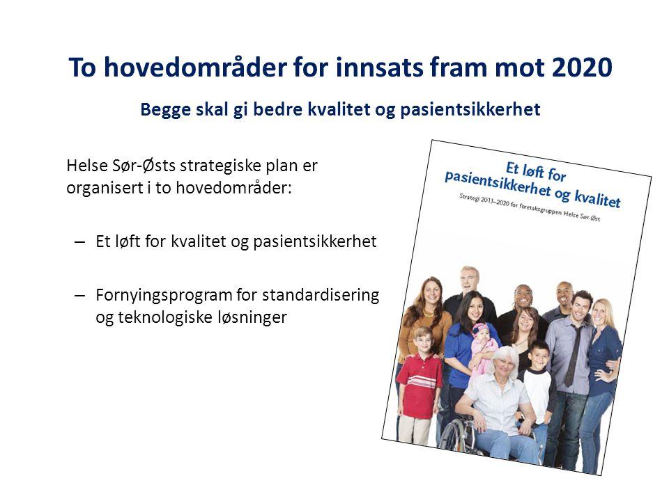 To hovedområder for innsats fram mot 2020 Begge skal gi bedre kvalitet og pasientsikkerhet Helse Sør-Østs strategiske plan er organisert i to hovedområder: – Et løft for kvalitet og pasientsikkerhet – Fornyingsprogram for standardisering og teknologiske løsninger