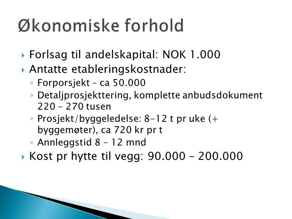  Forlsag til andelskapital: NOK 1.000  Antatte etableringskostnader: ◦ Forporsjekt – ca 50.000 ◦ Detaljprosjekttering, komplette anbudsdokument 220