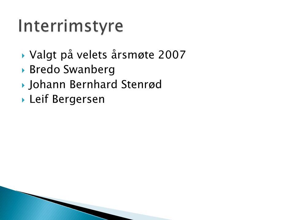  Valgt på velets årsmøte 2007  Bredo Swanberg  Johann Bernhard Stenrød  Leif Bergersen