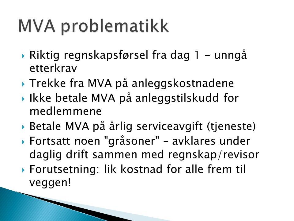  Riktig regnskapsførsel fra dag 1 - unngå etterkrav  Trekke fra MVA på anleggskostnadene  Ikke betale MVA på anleggstilskudd for medlemmene  Betal