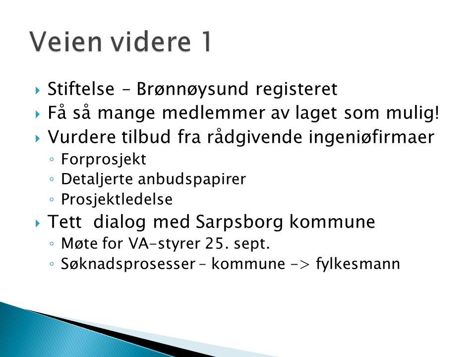  Stiftelse – Brønnøysund registeret  Få så mange medlemmer av laget som mulig!  Vurdere tilbud fra rådgivende ingeniøfirmaer ◦ Forprosjekt ◦ Detalj