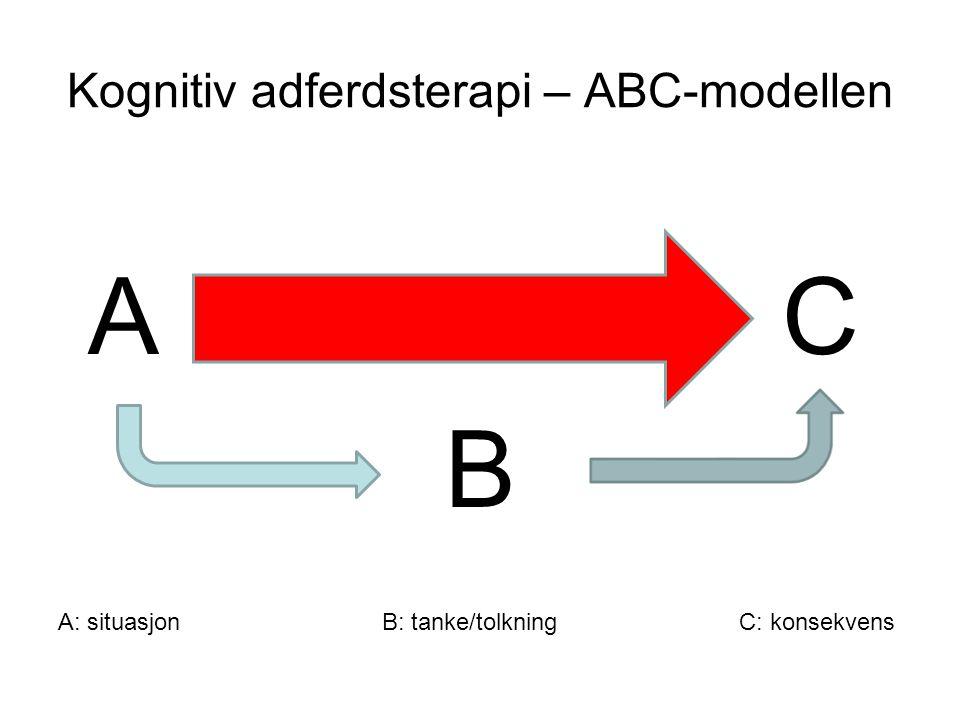 Kognitiv adferdsterapi: angstmodellen Situasjon (A) Tanke/tolkning (B) Adferd (C) Følelse (C) Kroppslige reaksjoner (C)