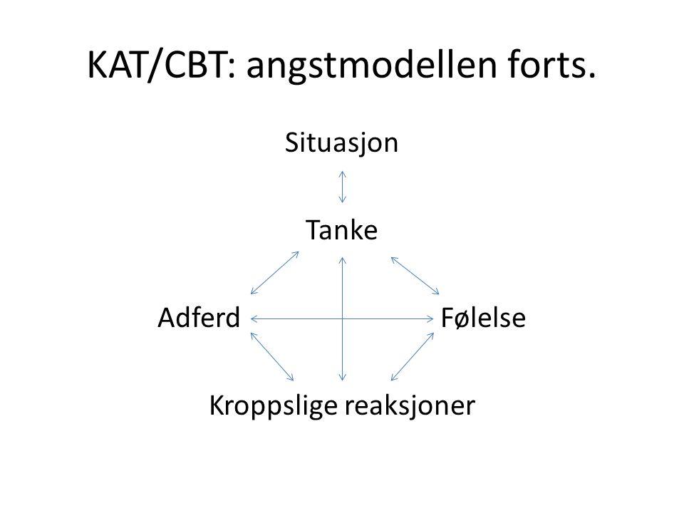 KAT/CBT: angstmodellen forts. Situasjon Tanke Adferd Følelse Kroppslige reaksjoner