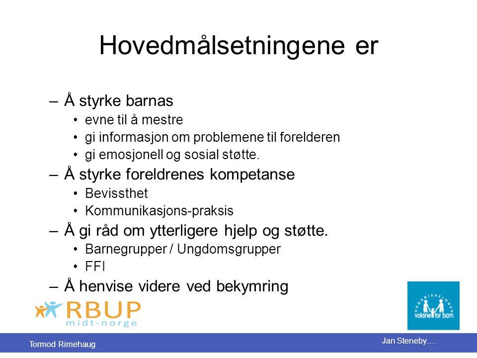 Tormod Rimehaug Jan Steneby…. Hovedmålsetningene er –Å styrke barnas •evne til å mestre •gi informasjon om problemene til forelderen •gi emosjonell og