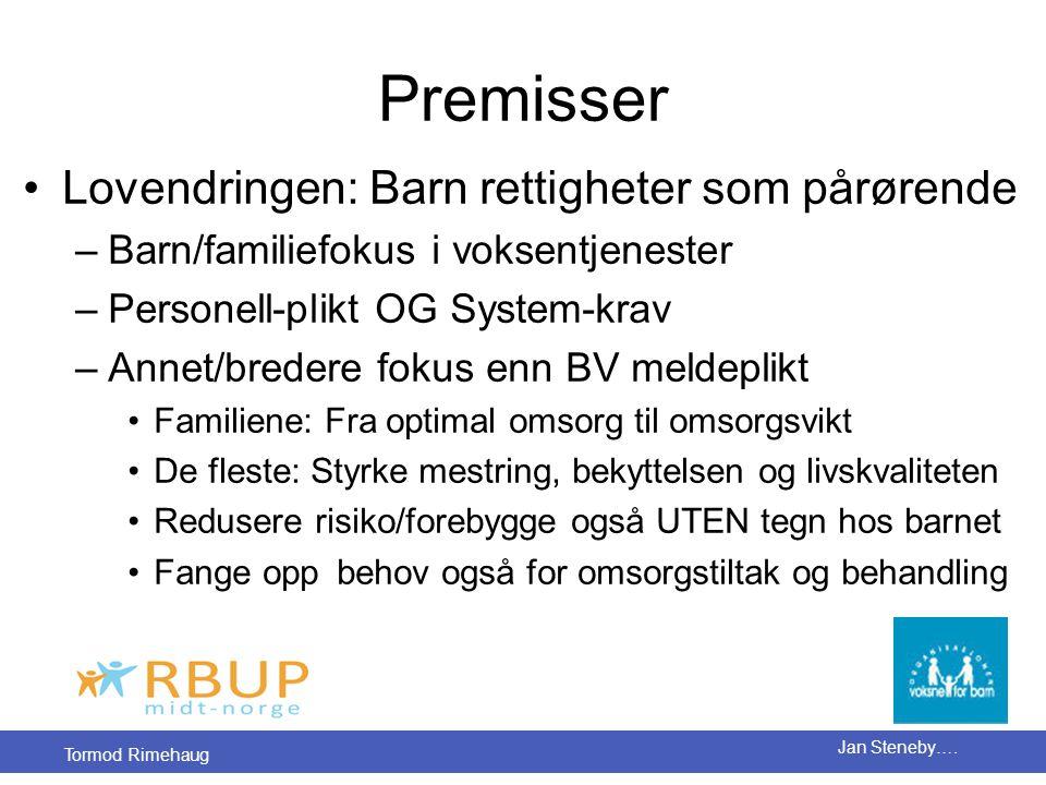 Tormod Rimehaug Jan Steneby…. Premisser •Lovendringen: Barn rettigheter som pårørende –Barn/familiefokus i voksentjenester –Personell-plikt OG System-