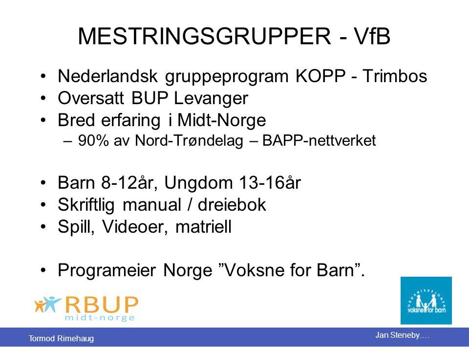 Tormod Rimehaug Jan Steneby…. MESTRINGSGRUPPER - VfB •Nederlandsk gruppeprogram KOPP - Trimbos •Oversatt BUP Levanger •Bred erfaring i Midt-Norge –90%