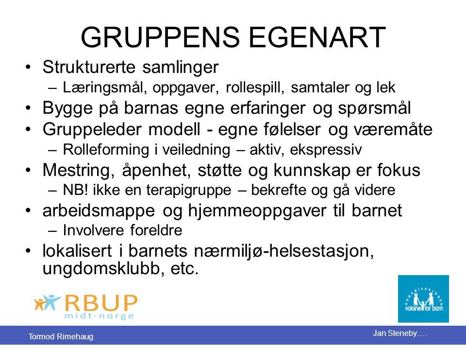 Tormod Rimehaug Jan Steneby…. GRUPPENS EGENART •Strukturerte samlinger –Læringsmål, oppgaver, rollespill, samtaler og lek •Bygge på barnas egne erfari