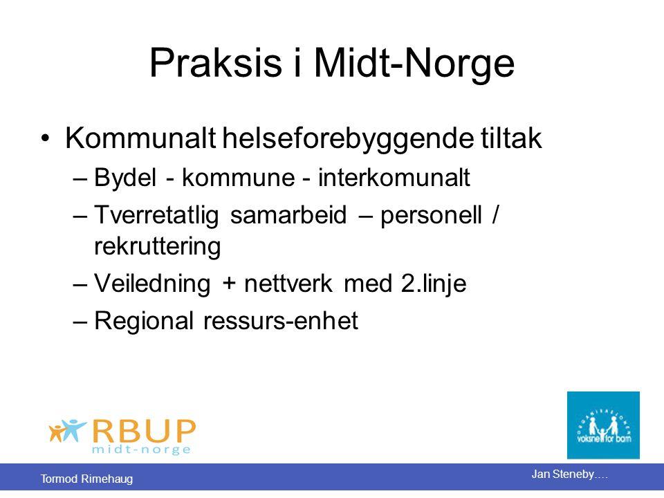Tormod Rimehaug Jan Steneby…. Praksis i Midt-Norge •Kommunalt helseforebyggende tiltak –Bydel - kommune - interkomunalt –Tverretatlig samarbeid – pers
