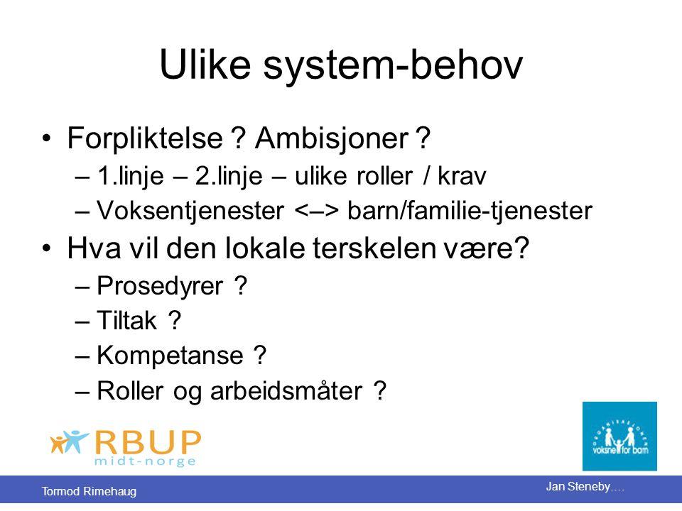 Tormod Rimehaug Jan Steneby…. Ulike system-behov •Forpliktelse ? Ambisjoner ? –1.linje – 2.linje – ulike roller / krav –Voksentjenester barn/familie-t