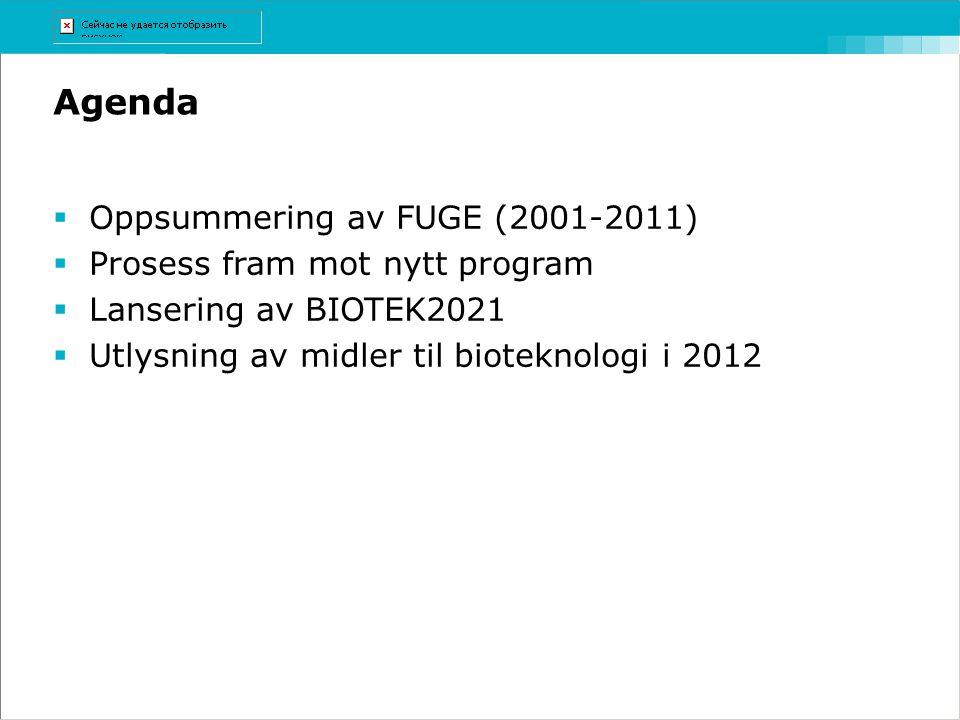 Agenda  Oppsummering av FUGE (2001-2011)  Prosess fram mot nytt program  Lansering av BIOTEK2021  Utlysning av midler til bioteknologi i 2012