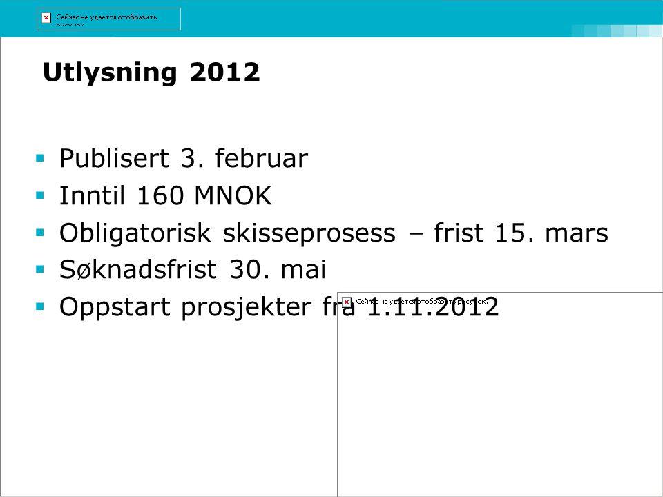 Utlysning 2012  Publisert 3. februar  Inntil 160 MNOK  Obligatorisk skisseprosess – frist 15. mars  Søknadsfrist 30. mai  Oppstart prosjekter fra