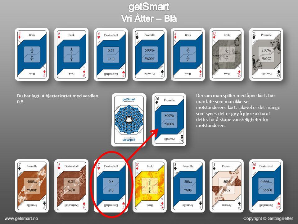 Du har lagt ut hjerterkortet med verdien 0,8. Dersom man spiller med åpne kort, bør man late som man ikke ser motstanderens kort. Likevel er det mange