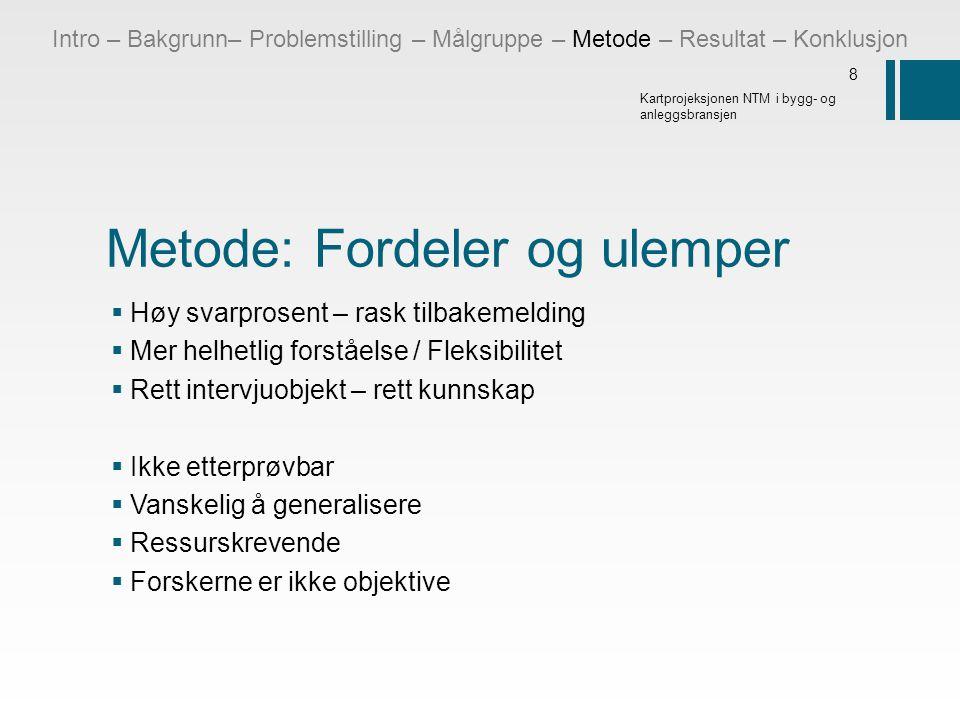 Metode: Fordeler og ulemper  Høy svarprosent – rask tilbakemelding  Mer helhetlig forståelse / Fleksibilitet  Rett intervjuobjekt – rett kunnskap 
