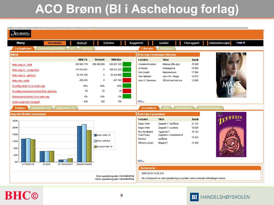 BHC © 30 Begrepenes innhold Business Intelligence : Innsikt / kunnskap BI Software :Verktøy som benyttes for skape BI-tjenester som gir innsikt BI Methodologies : Målemetoder for å analysere data BI Services :Data behandlet og presentert på en slik måte at de gir innsikt BI Processes :Prosessen med å skape innsikt, for eksempel å analysere, simulere eller konsolidere BI Users :Brukere av innsikt / kunnskap