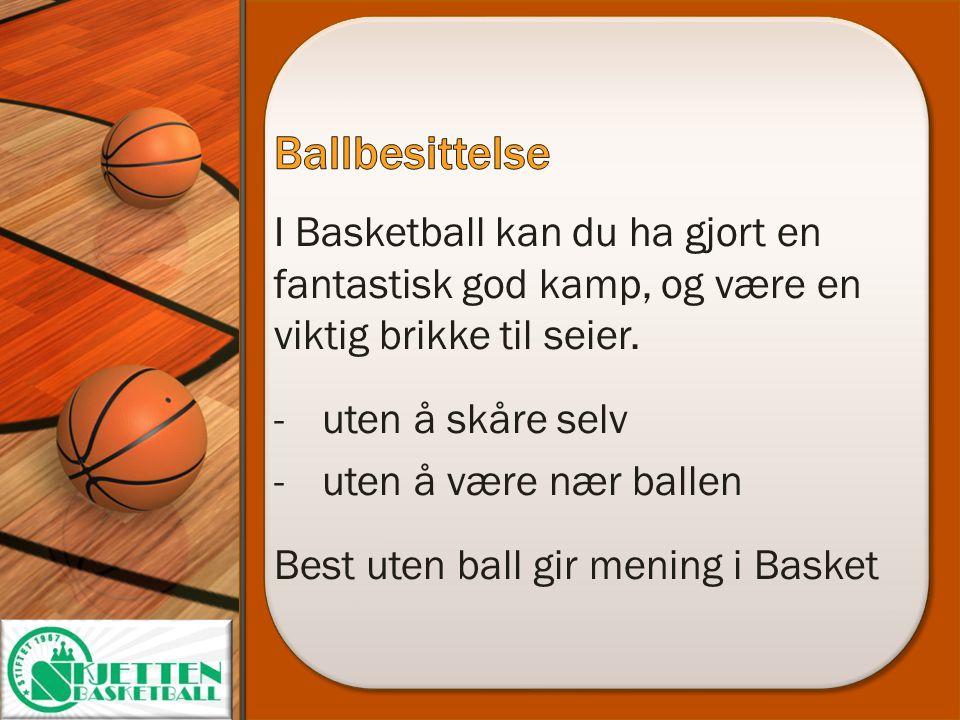 I Basketball kan du ha gjort en fantastisk god kamp, og være en viktig brikke til seier. -uten å skåre selv -uten å være nær ballen Best uten ball gir