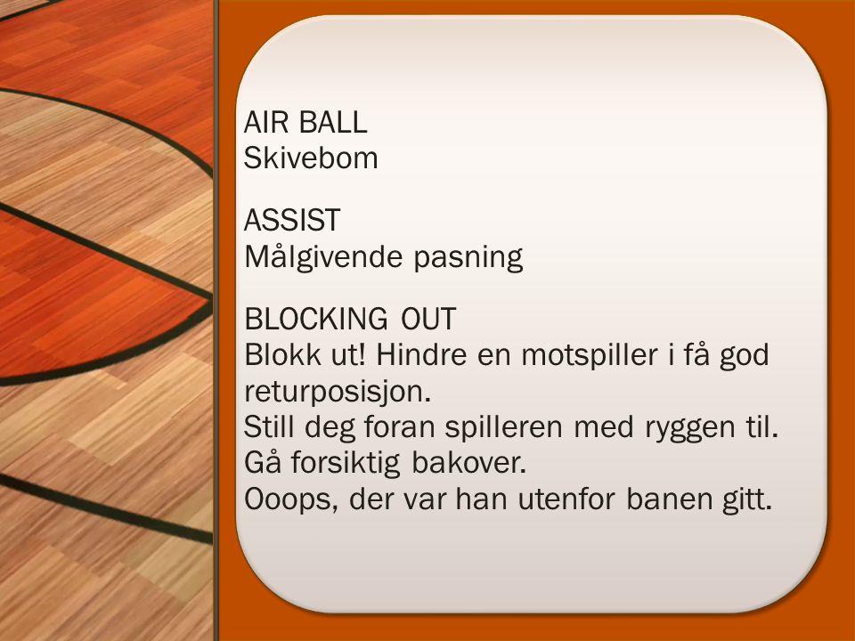 AIR BALL Skivebom ASSIST Målgivende pasning BLOCKING OUT Blokk ut! Hindre en motspiller i få god returposisjon. Still deg foran spilleren med ryggen t