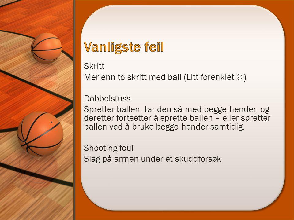 Skritt Mer enn to skritt med ball (Litt forenklet  ) Dobbelstuss Spretter ballen, tar den så med begge hender, og deretter fortsetter å sprette balle