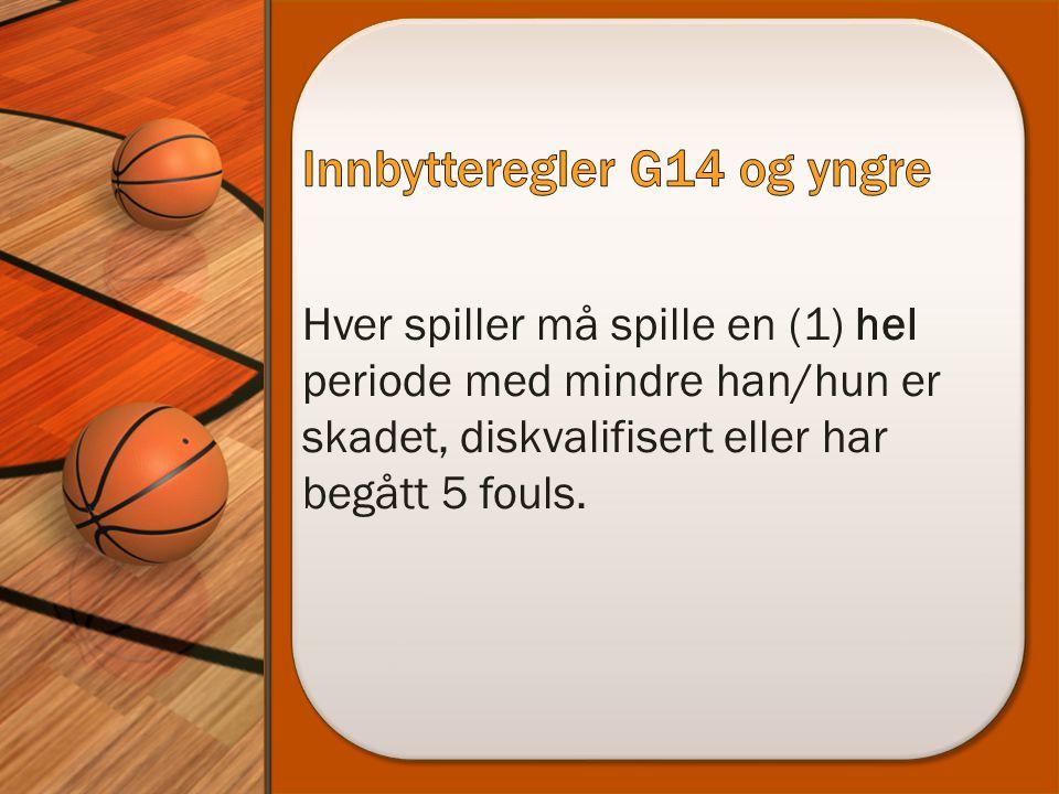 Hver spiller må spille en (1) hel periode med mindre han/hun er skadet, diskvalifisert eller har begått 5 fouls.