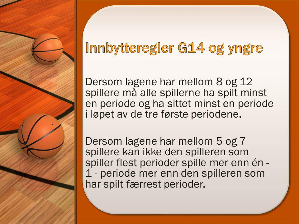 Dersom lagene har mellom 8 og 12 spillere må alle spillerne ha spilt minst en periode og ha sittet minst en periode i løpet av de tre første periodene.