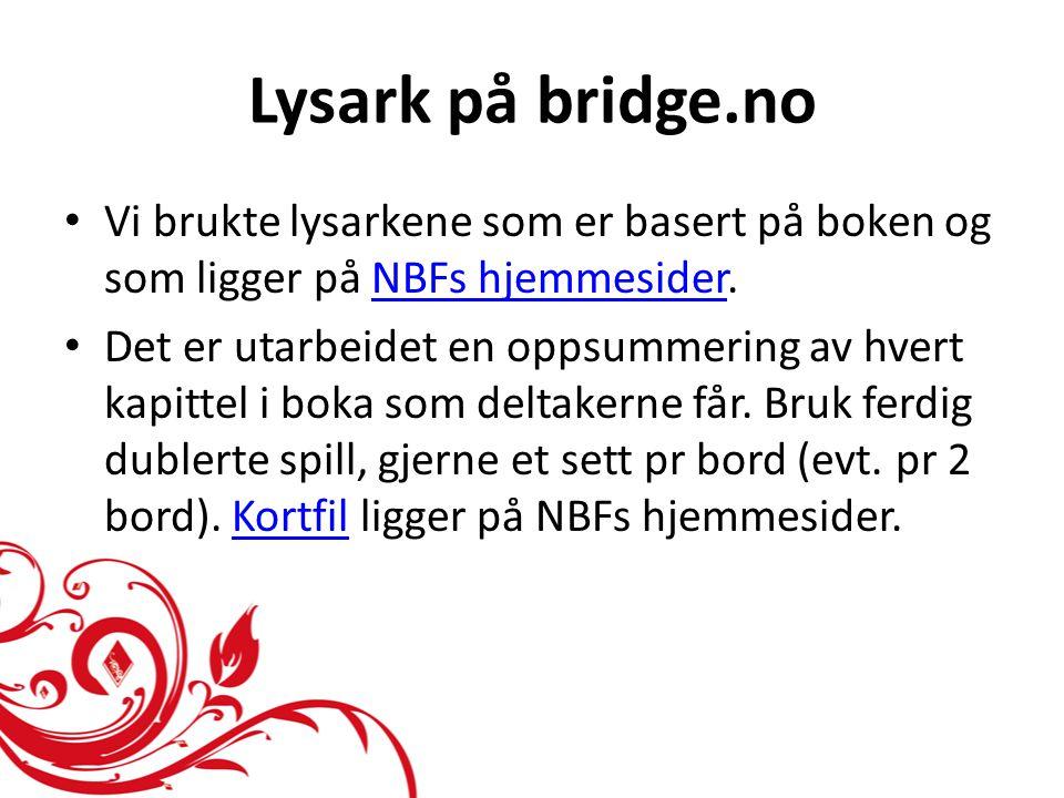 Lysark på bridge.no • Vi brukte lysarkene som er basert på boken og som ligger på NBFs hjemmesider.NBFs hjemmesider • Det er utarbeidet en oppsummering av hvert kapittel i boka som deltakerne får.